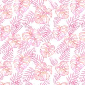 coral pink watercolor monstera