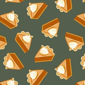 Pumpkin Pie Slice - fall dessert - thanksgiving - green - LAD19