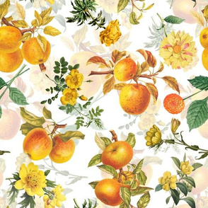 "10""   Pierre-Joseph Redouté- Pierre-Joseph Redoute- Redouté fabric,apples fabric, Redoute apples, Victorian apples, - Redoute fabric, double layer on white"