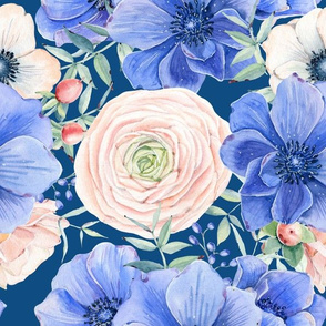 "12"" Hand drawn watercolor florals on classic blue - trend 2020"