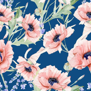 "14"" Hand drawn watercolor poppies and lavender on classic blue - trend 2020"