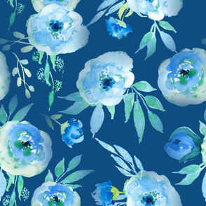 "14"" Hand drawn watercolor florals on classic blue - trend 2020"