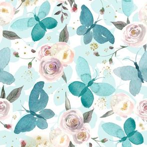 """12"""" Blue Moths with roses and glitter"""