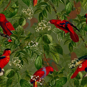 "14"" Vintage Red Parrots Birds Flower Jungle Green"