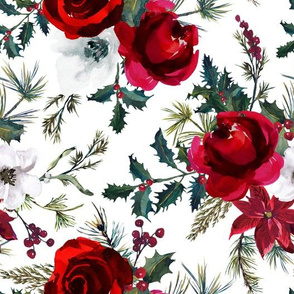"""10"""" Christmas Floral White"""