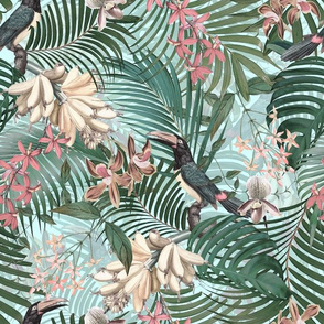 """14"""" Tropical Night - Toucan in palm jungle with tropical flowers and bananas - teal"""