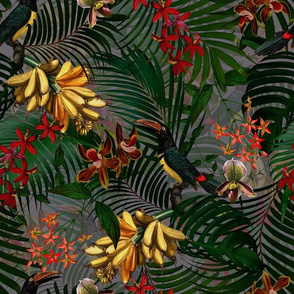 """14"""" Tropical Night - Toucan in palm jungle with tropical flowers and bananas - dark gray"""