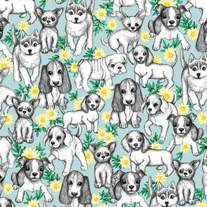 Dogs and Daisies on Light Blue