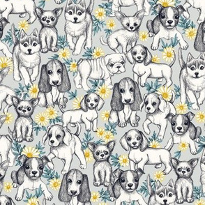 Dogs and Daisies on Grey - small print