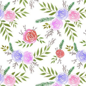 Red roses watercolor with pink and lilac blooms