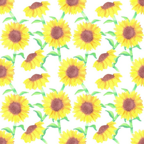Incidental Sunflower Watercolor bright yellow