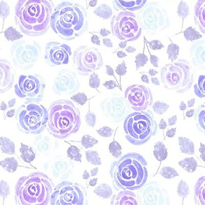 Lilac purple and blue rose flowers watercolors