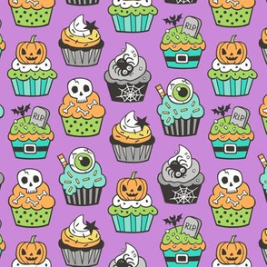 Halloween Fall Cupcakes on Purple Smaller 1,75 inch