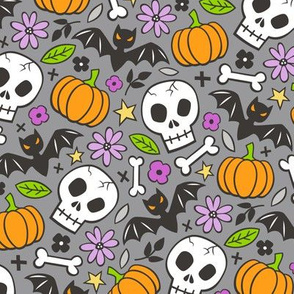 Skulls,Flowers,Pumpkins and Bats Halloween Fall Doodle on Dark Grey