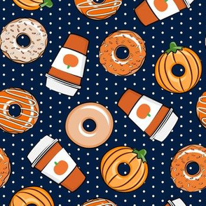 Coffee and Fall Donuts - PSL pumpkin fall donuts toss - navy polka dots - LAD19BS