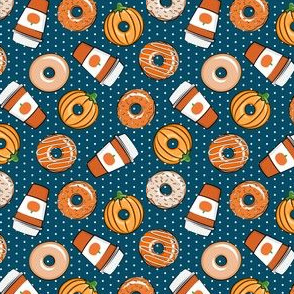 (small scale) Coffee and Fall Donuts - PSL pumpkin fall donuts toss - blue polka dots - LAD19BS