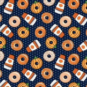 (small scale)  Coffee and Fall Donuts - PSL pumpkin fall donuts toss - navy polka dots - LAD19