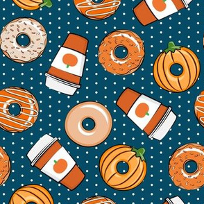 Coffee and Fall Donuts - PSL pumpkin fall donuts toss - blue polka dots - LAD19