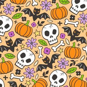 Skulls,Flowers,Pumpkins and Bats Halloween Fall Doodle on Orange