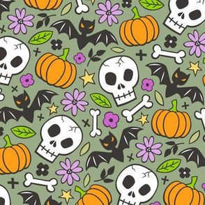 Skulls,Flowers,Pumpkins and Bats Halloween Fall Doodle on Olive Green