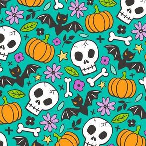 Skulls,Flowers,Pumpkins and Bats Halloween Fall Doodle on Dark Green