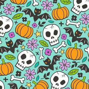 Skulls,Flowers,Pumpkins and Bats Halloween Fall Doodle on Mint Green