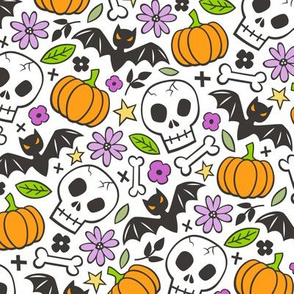 Skulls,Flowers,Pumpkins and Bats Halloween Fall Doodle on White
