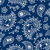 Retro Dog Paisley - Blue and White