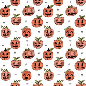 SMALL - Jack-o'-lantern fabric // halloween cute pumpkin carving hand drawn pattern white by andrea lauren
