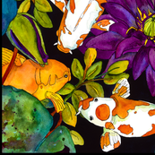 Purple Lily & Koi  Large Scale