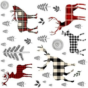 "8"" Woodland Plaid Deer / Black Trees 90 degrees"