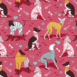 Greyhounds dogwalk // small scale // red background