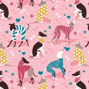 Greyhounds dogwalk // small scale // pastel pink background