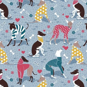 Greyhounds dogwalk // small scale // pale blue background