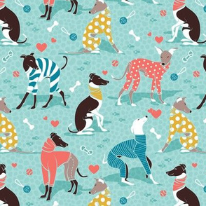 Greyhounds dogwalk // small scale // aqua background