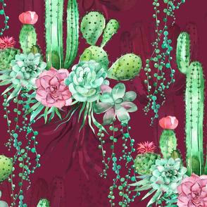 maroon floral cactus