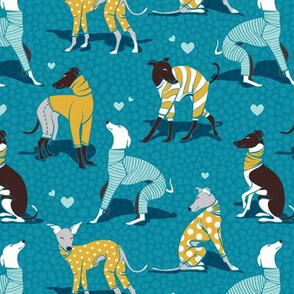 In love greyhounds // small scale // turquoise background aqua and yellow dog pyjamas