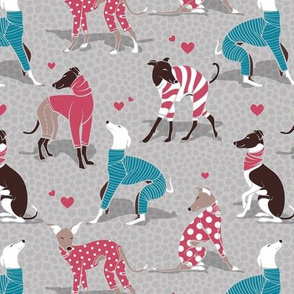 In love greyhounds // small scale // grey background turquoise and red dog pyjamas