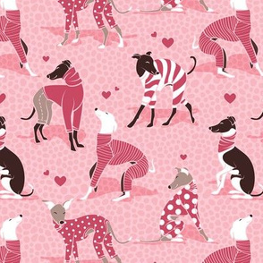 In love greyhounds // small scale // pastel pink background red dog pyjamas