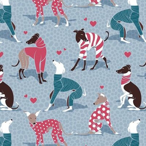 In love greyhounds // small scale // pale blue background turquoise and red dog pyjamas