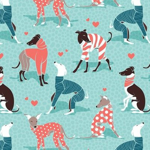 In love greyhounds // small scale // aqua background turquoise and coral dog pyjamas