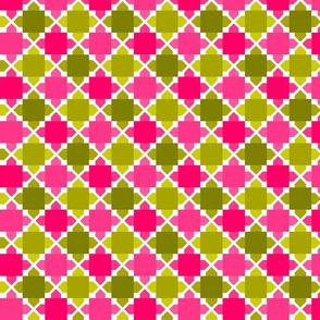 Two Tone Tiles Avocado Pink SML