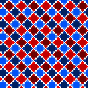Two Tone Tiles Red, White and Blue SML