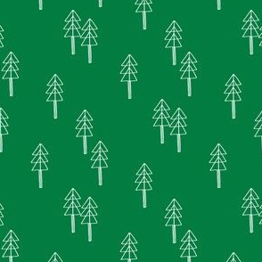 minimal christmas tree fabric - red xmas tree, holiday fabric, christmas fabric - kelly green