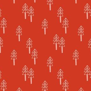 minimal christmas tree fabric - red xmas tree, holiday fabric, christmas fabric - tomato red