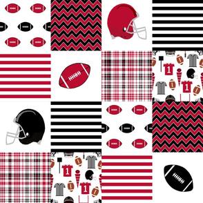 """georgia quilt - 6"""" squares, college football, school spirit, patchwork, cheater quilt"""