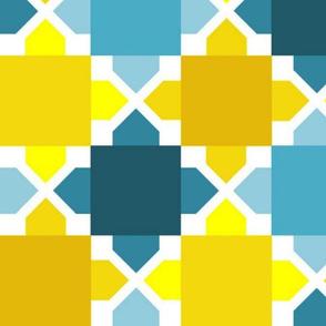 Two Tone Tiles - Aqua Gold LRG