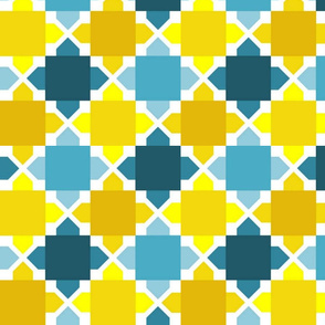 Two Tone Tiles - Aqua Gold MED