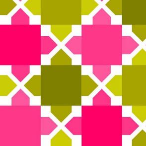 Two Tone Tiles Avocado Pink LRG