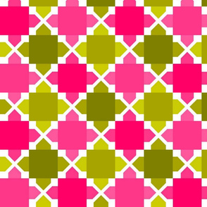 Two Tone Tiles Avocado Pink MED